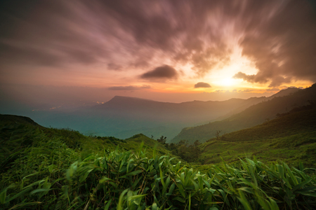 trave: Beautiful and famous trave location the landscape at sunset, Phu Tub berk Phet cha bun Stock Photo