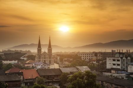 Catholic church at sunset Chanthaburi Thailand Stock Photo