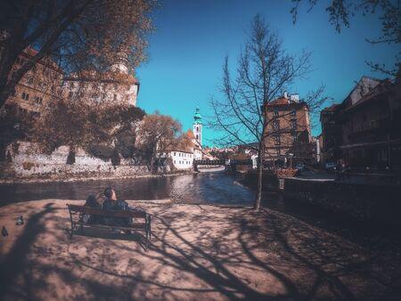 Czech Republic - APRIL 16,2019. Lovers at State Castle and Chateau Český Krumlov Czech Republic. Editorial
