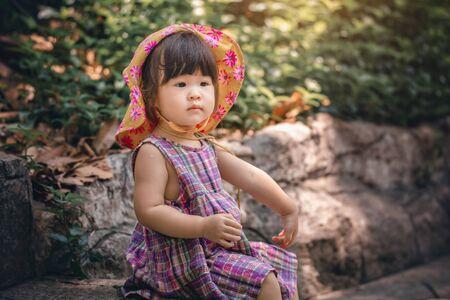 Cute asian little girl summer travel