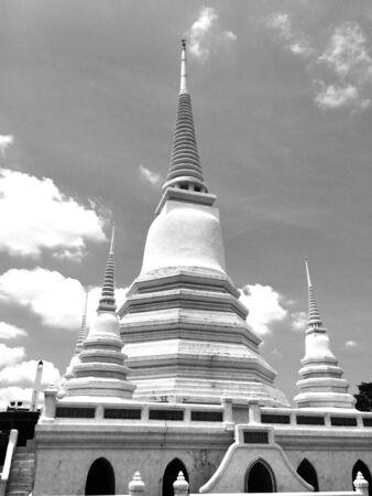white: White pagoda in Thailand, landscape