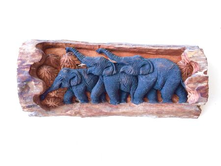 decoration: Carved wooden elephant, decoration, family.