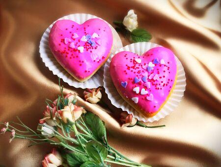 Delicious, romantic, mini cookie shaped heart. Stock Photo