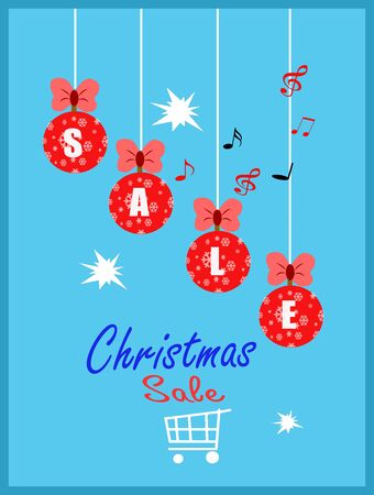 Christmas sale banner. Christmas sale phrase on blue background