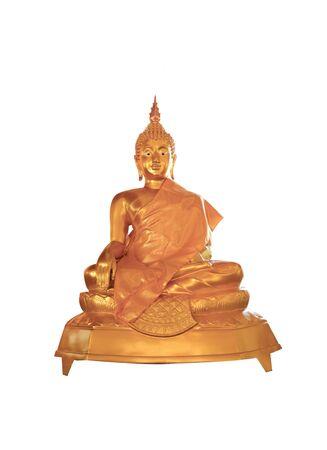 Golden color  Gautama buddha statue image on white