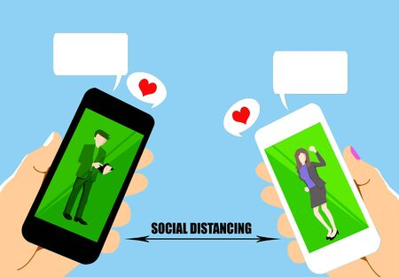 drawing of social distancing by using mobile phone on blue background. Stock Photo