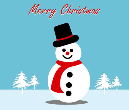 Drawing of cute snowman with hat and snow in flat style,christmas concept,