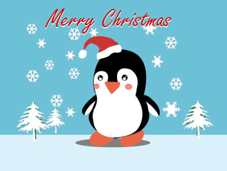 Drawing of cute penguin with snow in flat style, Antarctic bird, Stock fotó