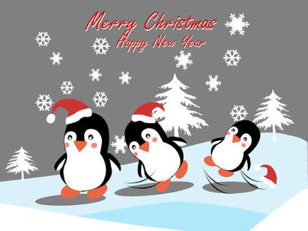 Cute penguin jumping at winter with snow in flat style. Cold winter symbol. Antarctic bird,