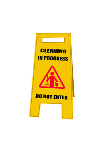 drawing of cleaning in progress sign on white background Stock fotó