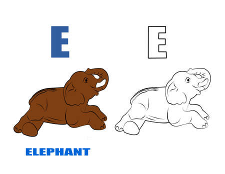 Alphabet E with drawing of elephan cartoon pattern for coloring book , A wild animal,