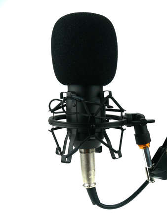 A studio condenser microphone on white background