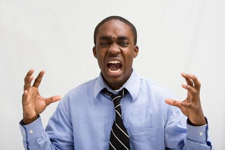 yell: Dark skinned young business professional screaming, MBA student, or such, isolated on white