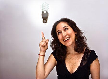 energies: Woman having an environmentally brilliant idea