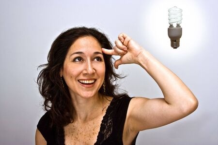 Woman having a brilliant environmentally friendly thought