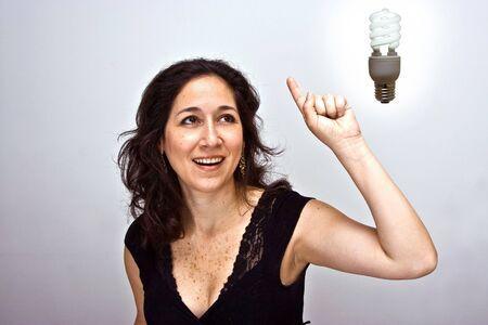 energies: Woman having a brilliant environmentally friendly idea