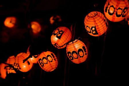 Boe-geroep! lanaternen voor Halloween uiten horror. Stockfoto