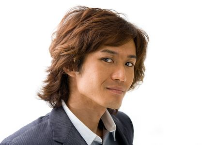 Handsome Asian guys face with a smile, isolated