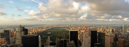 Aerial view of Central Park and midtown north Manhattan, Harlem, Bronx in New York City, upper west and east side, Washington Heights, 5th Avenue photo
