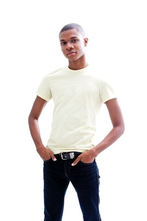 Casual young African man in yellow shirt and hands in pocket of jeans, isolated Stock Photo - 4054072