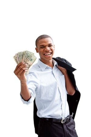 scholars: Young African business man standing relaxed and secure with jacket over shoulder and money in hand, isolated