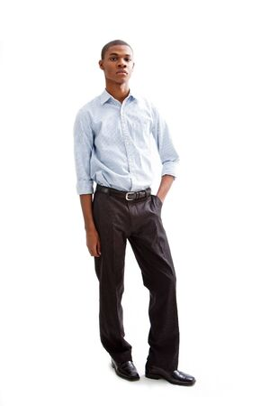 Young African business man standing relaxed and secure with hands in pocket, isolated Stock Photo - 4054102