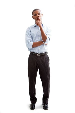 Young African business man standing relaxed and secure thinking, isolated