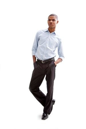 Young African business man standing relaxed and secure with hands in pocket, isolated Stock Photo - 4054100