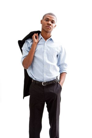 Young African business man standing relaxed and secure with hand in pocket and jacket over shoulder, isolated Stock Photo - 4054107