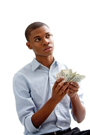African man holding and counting money, isolated photo