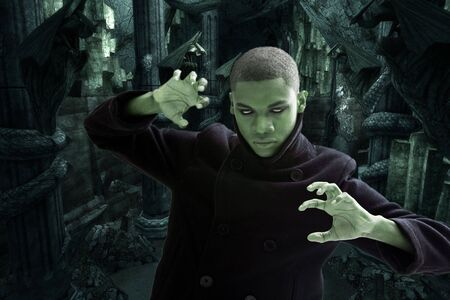 Green man with smokey white eyes, strong expression and black coat in dungeon hall way, isolated photo