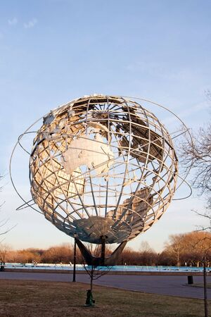 Unisphere globe in Flushing Meadows Corona Park in Queens New York at sunset photo