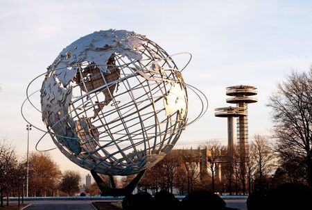 flushing: The Unispere and the World Fair Tent of Tomorrow and sunset Stock Photo