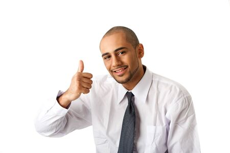 Torso of a handsome African Hispanic business man in white shirt and gray tie and thumb up, isolated photo