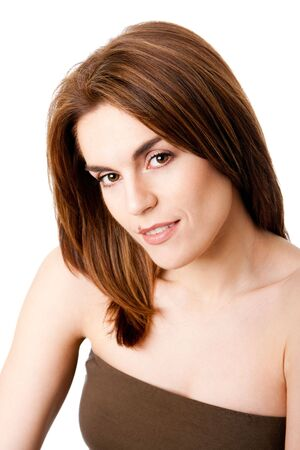 Beautiful brunette face with mole on lip, natural and pure, isolated Stock Photo