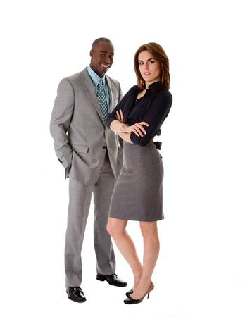 Beautiful business couple African American man and Caucasian woman standing, isolated photo