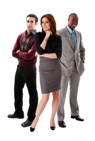 Business team with a beautiful Caucasian woman in front of an African and Caucasian men in suits, isolated photo