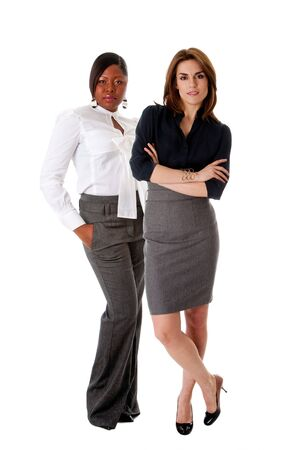 Beautiful Caucasian and African American business women standing next to each other as the dreamteam, isolated