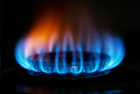 Burning hot blue yellow fire flames from a stove for cooking in a kitchen Stock Photo - 4981617