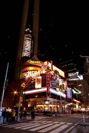 New York - 26 Nov. 2009: Hershey's, The Great American Chocolate Company, Candy store by night in Times Square, Manhattan, New York City.