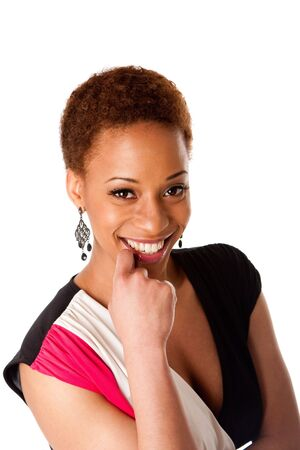Face of beautiful African American business woman with big happy smile and hand on lip, isolated.