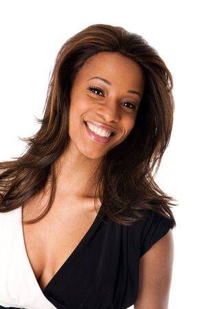 Happy beautiful African American business woman with big smile, isolated. photo