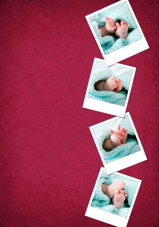 polaroids: Happy and funny baby feet in blue-green blanket polaroids hanging vertical on a red-burgundy color grunge background.