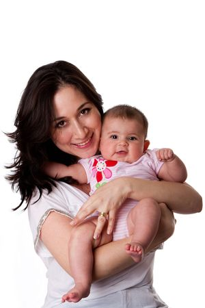 mom baby: Happy Caucasian Hispanic family mother holding cute baby daughter,  isolated. Stock Photo