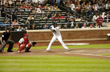 ruiz: New York, 27 May 2010: Jose Reyes about to bat a ball with Carlos Ruiz catching at Citi Field Park stadium in Queens, New York, as the baseball game of Mets vs. Phillies.