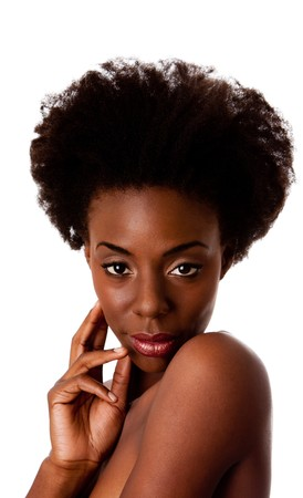 Beautiful face of an African American woman with Afro curly hair, hand, bare shoulders and smooth brown skin, isolated.
