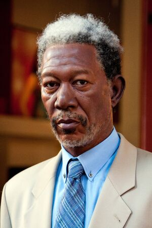 Morgan Freeman, Hollywood celebrity actor, wax statue at the Madame Tussauds museum in New York City Manhattan.