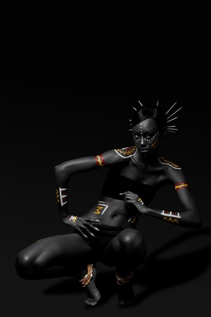 Beautiful exotic African female fashion with tribal yellow red and white makeup cosmetics and sticks in hai, in dance position.