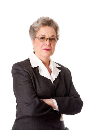Experienced female business lawyer in suit. Beautiful Senior old woman with arms crossed, isolated. Фото со стока