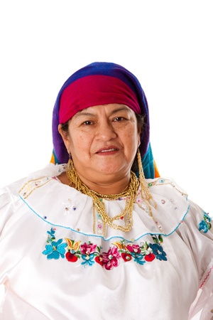 Face of a beautiful senior Latin Gypsy woman from South America dressed in Folklore clothes from Ecuador, Colombia, Bolivia or Venezuela, isolated.
